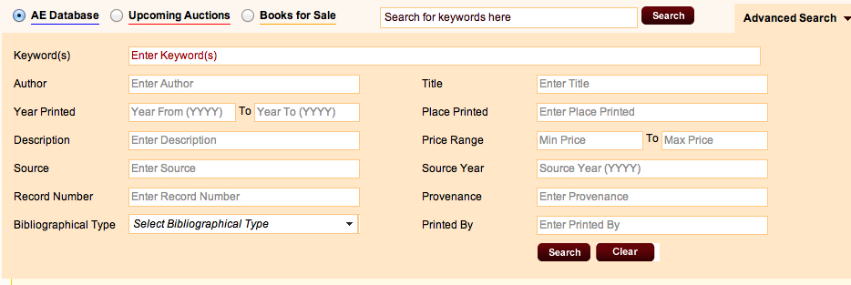 Revised advanced search screen with fields