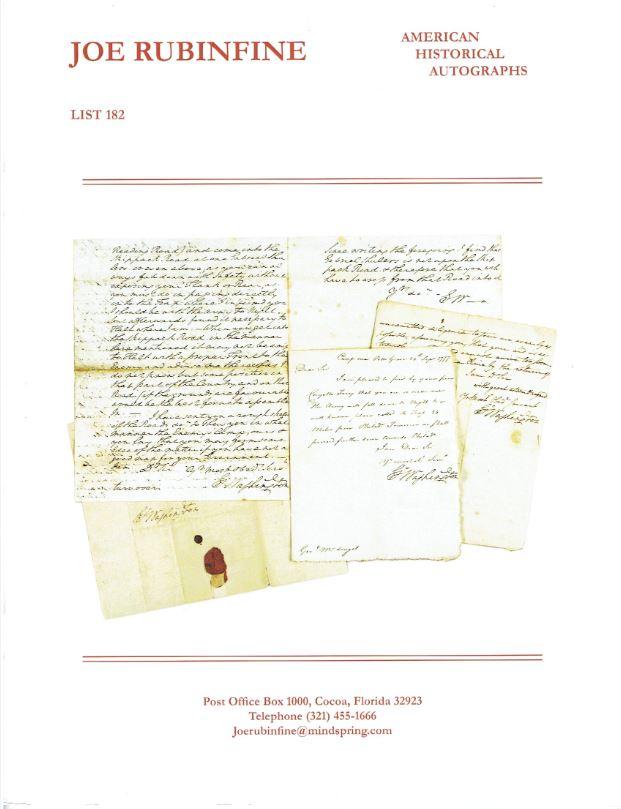 Important American Historical Autographs from Joe Rubinfine